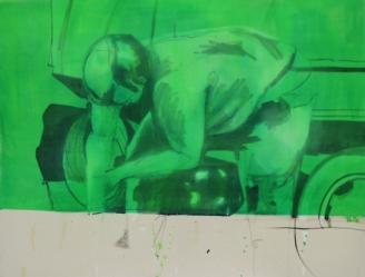 2013 encre de chine et huile sur toile, 100x80 cm.